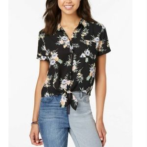 5/$25Hippie Rose floral tropical tie-front